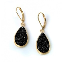 Black Druzy Gold Plated Gemstone Earrings