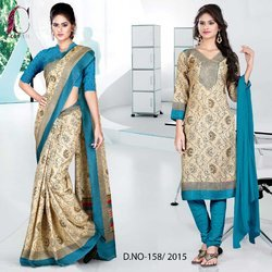 Green and Golden Italian Crepe Uniform Saree Kurti Combo