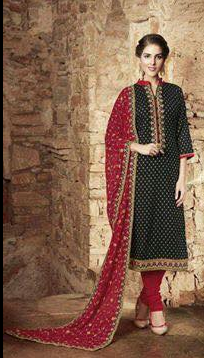 23bfa4e63a0 Black Maroon Color Churidar Salwar Suit   Black Suit With White ...