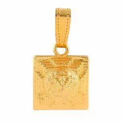 Brass Golden Sri Yantra Pendant for Unisex