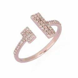 Pave Diamond Gold Rectangle Cuff Ring