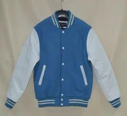 Caliber India Wool + Leather Sky Blue White Varsity Jacket