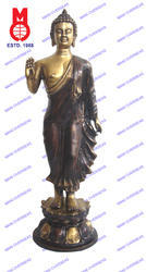 Lord Buddha Standing with Shawl On Lotus Base Statue