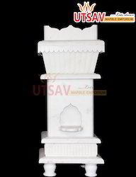 Pure White Marble Tulsi Pot