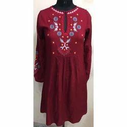 Ladies Red Printed Long Top