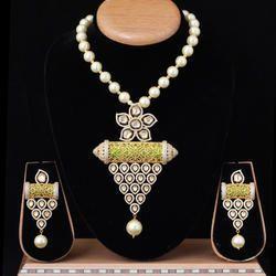 American Diamond with Kundan Fusion Mala Set