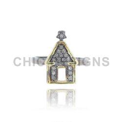 Designer Hut Charm Silver Mid Ring