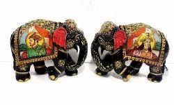 Wooden Elephant With Painted Work