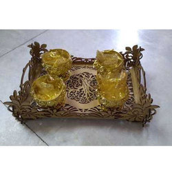 Designer Wooden Tray With Bowl Set