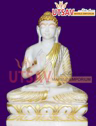 White Marble Buddha With Gold Work