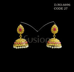 Traditional Pearl Jhumka Antique Earrings