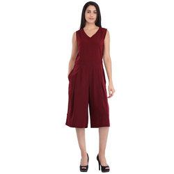 Cottinfab Women's Solid Pleated Playsuit
