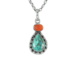 Stunning Rich Turquoise 925 Sterling Silver Pendant