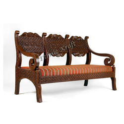 Roman Wooden Carved Three Seater Sofa