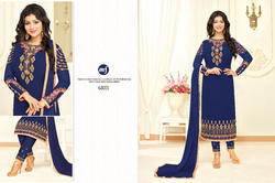 Blue Georgette Heavy Embroidered Women's Salwar Suit