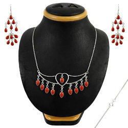 Designer Carnelian Gemstone Silver Jewelry Set