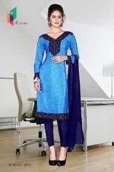 Blue with Dark Blue Border Italian Crepe Uniform Salwar Kameez