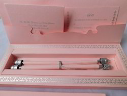 Custom Made Baby Pink Scroll Wedding Invite With Rsvp Cards