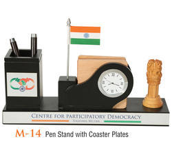 Wooden Pen Stand With Coaster Plates