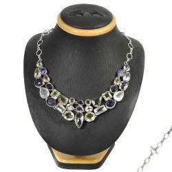 Rose Quartz Gemstone Silver Necklace