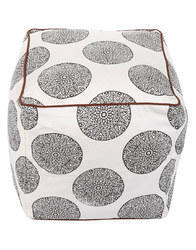 Hand Block Printed Floral Cotton Square Ottoman Floor Pouf Cover