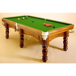 Pool Table With Greenish Cloth