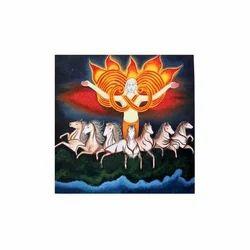 Hindu God Surya Dev With Seven Horses Mural Painting