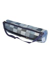 Patch Work Blue Cotton And Denim Checkered Yoga Mat Bag