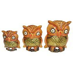 Wooden Painted Owl Set