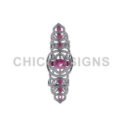 Ruby Diamond Knuckle Ring