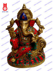 Lord Ganesha Sitting On W/Tiger Stone & Beads Work Statue