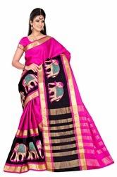 Embroidery Saree Cotton Silk