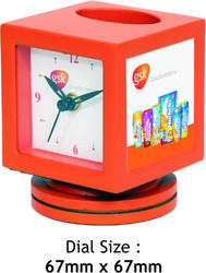 Orange Revolving Table Clock
