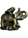 Frog On Elephant Paper Weight Cum Vastu Table Top