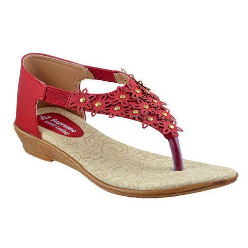Supreme Ladies Red Designer Sandals, Rs