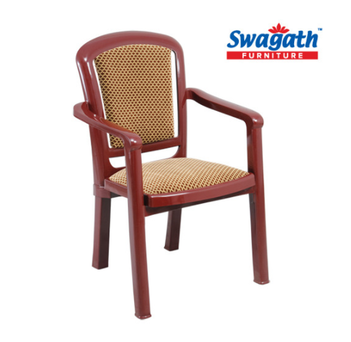 Superbe Cushioned Chair With Arms   PLUSH Red Cushioned Plastic Chair Exporter From  Kolkata