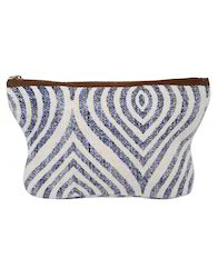 Hand Block Printed Ogee Cotton Blue Durrie Pouch Bag