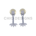 Pave Diamond Leaf Ear Jacket Earrings