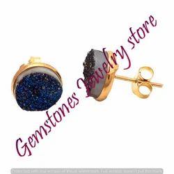 Blue Druzy Gemstone Ear Stud