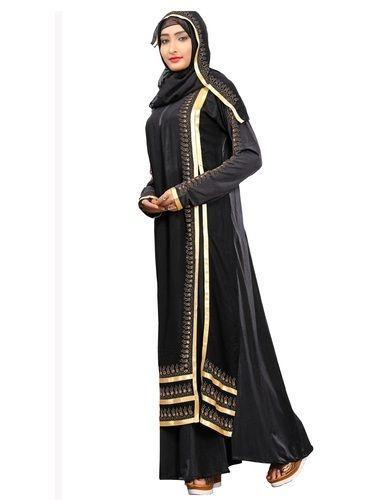 Abhaya Amp Burqa Casual Wear Satin Lace Work Abaya Burkha
