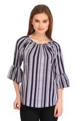Cottinfab Women's Striped Casual Top (DSS9179A)