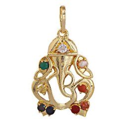 Synthetic Navratan Or Navgrah Brass Ganesha Locket
