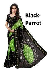 Black Printed Bandhani Saree