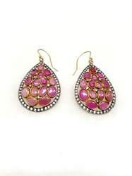 Ruby Glass Field Drop & Dangle CZ Earring