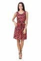 Western Wear Designer One Piece Red Printed Dress