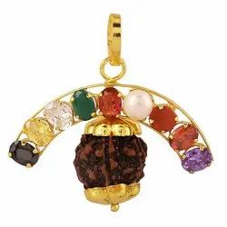 Navratna Pendant With Premium 5 Face Rudraksha For Men And Women