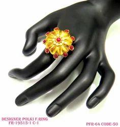 Beautiful Polki Antique Pink Finger Rings