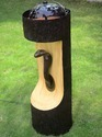Wooden Look Snake Face LED Light And Fountain Stand