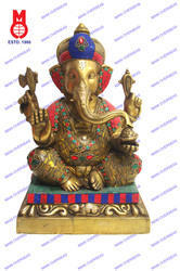 Lord Ganesh Sitting Shah W/tiger Stone &wire Bead Statue