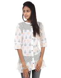 3/4th Sleeves White & Black Leaves Printed Cotton Women Kurti